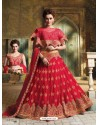 Red Net Embroidered Lehenga Choli