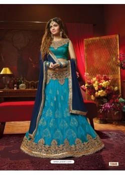 Fantastic Blue Net Embroidered Lehenga Choli
