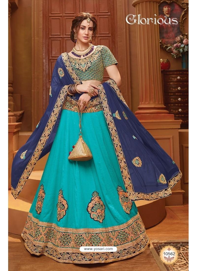 Excellent Turquoise Silk Lehenga Choli