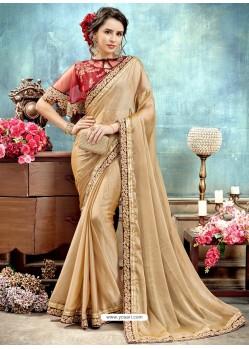 Golden Chiffon Embroidered Saree