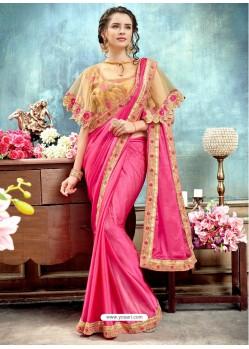 Light Pink Chiffon Embroidered Saree