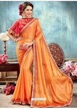 Orange Chiffon Embroidered Saree