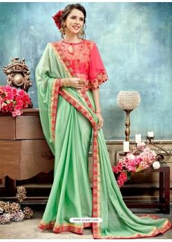 Sea Green Chiffon Embroidered Saree