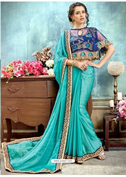 Turquoise Chiffon Embroidered Saree
