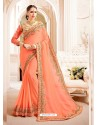 Peach Embroidered Lace Work Saree
