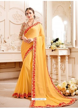 Yellow Embroidered Lace Work Saree