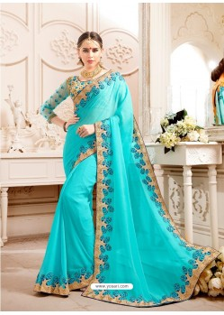 Firozi Embroidered Lace Work Saree
