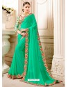 Jade Green Embroidered Lace Work Saree
