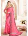 Light Pink Embroidered Lace Work Saree