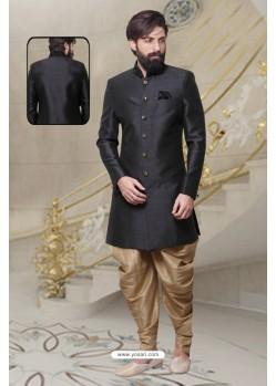 Groovy Black Silk Sherwani
