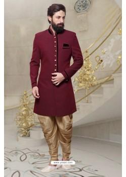 Superb Maroon Handloom Sherwani