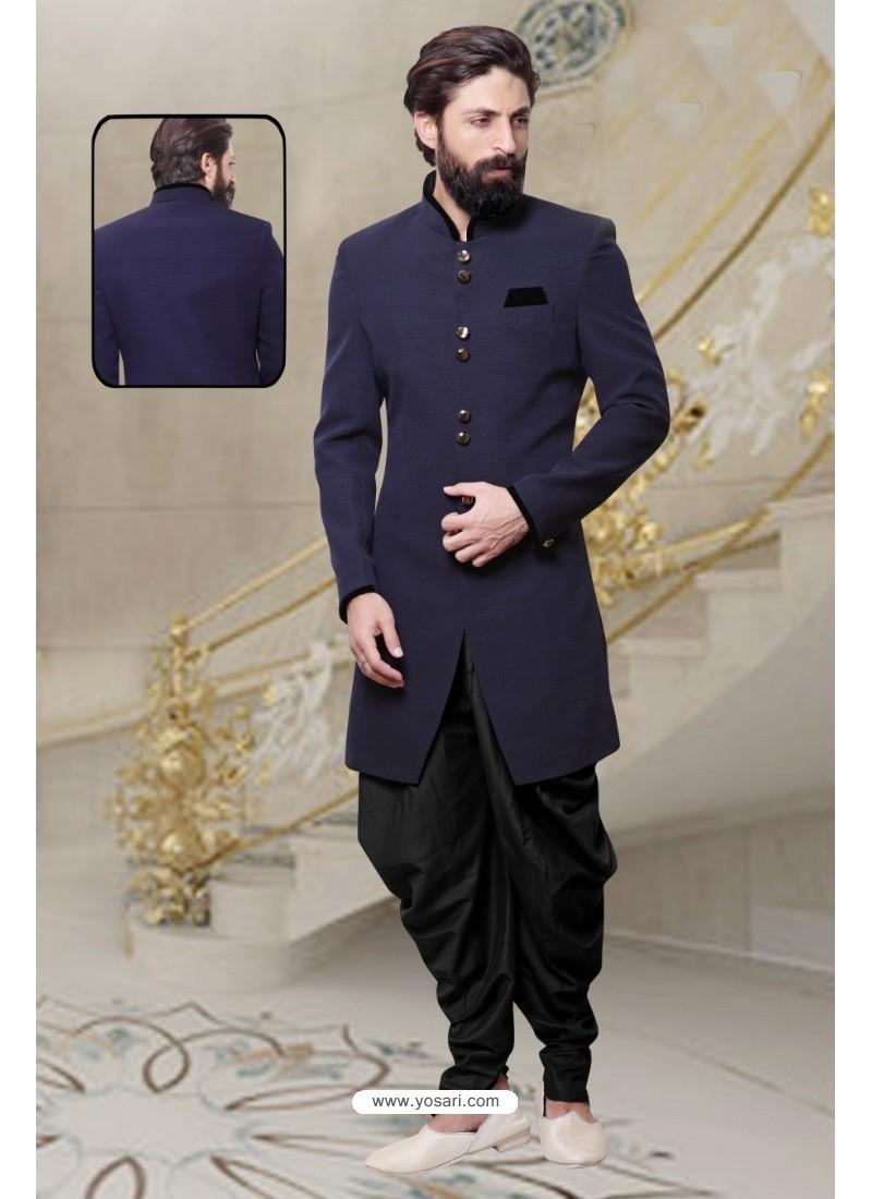 Amazing Navy Blue Handloom Sherwani