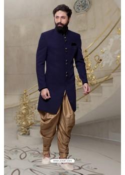 Navy Blue Handloom Sherwani