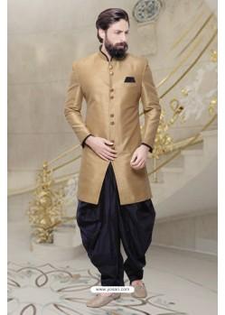 Lustrous Beige Silk Sherwani