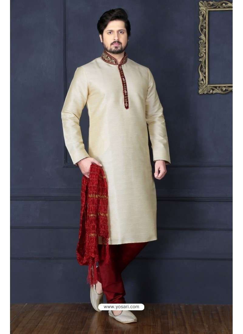 Off White Banarasi Silk Kurta Pajama