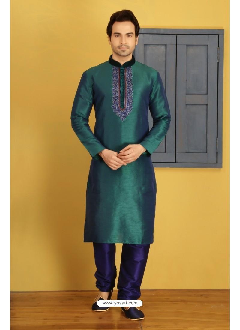 Teal Banarasi Silk Kurta Pajama