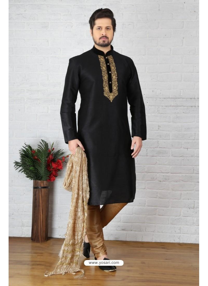 Black Dupion Silk Kurta Pajama