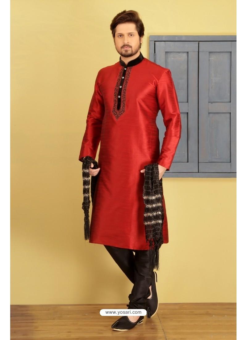 Red Dupion Silk Kurta Pajama