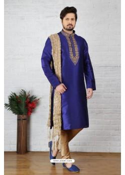 Royal Blue Dupion Silk Kurta Pajama