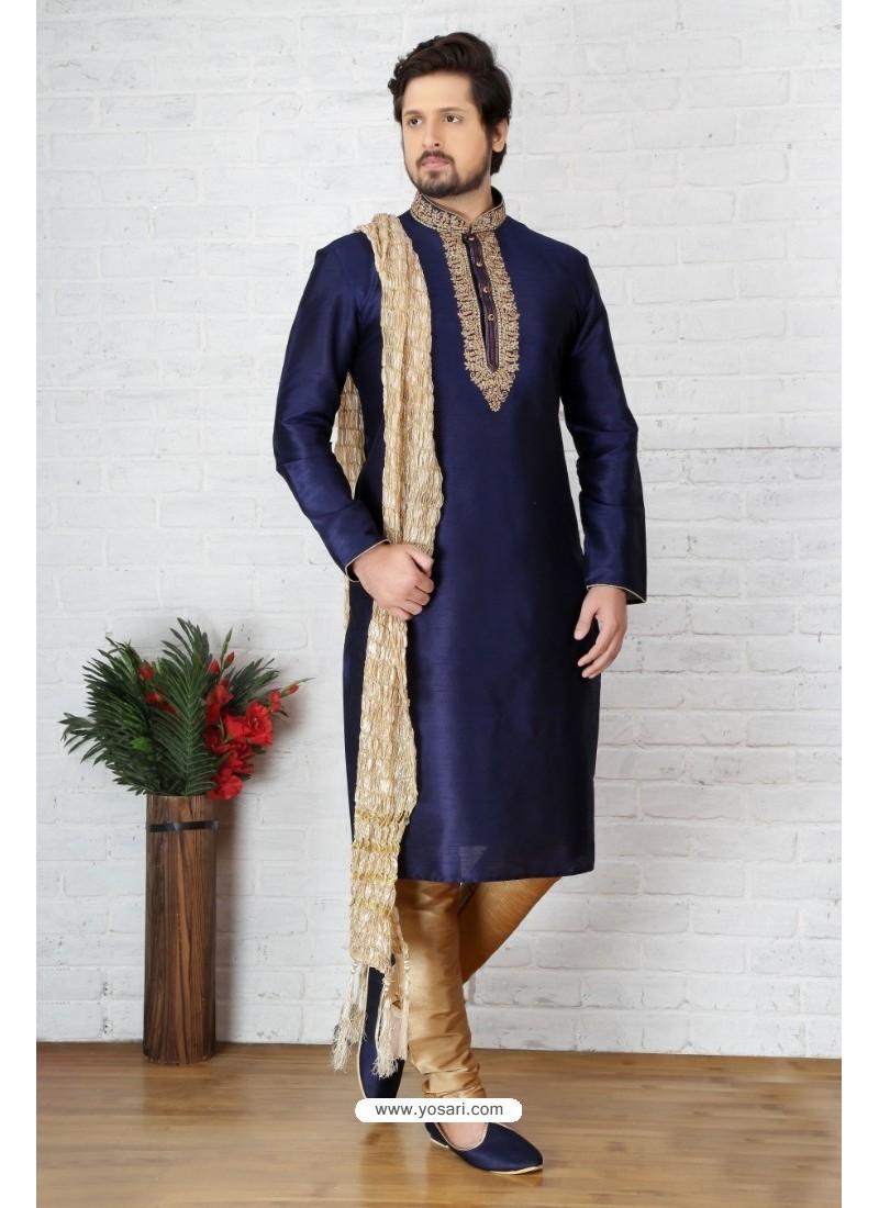 Dazzling Navy Blue Silk Kurta Pajama