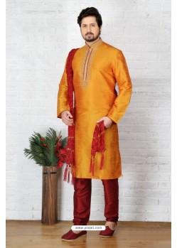 Decent Mustard Silk Kurta Pajama