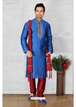 Lustrous Dark Blue Silk Kurta Pajama