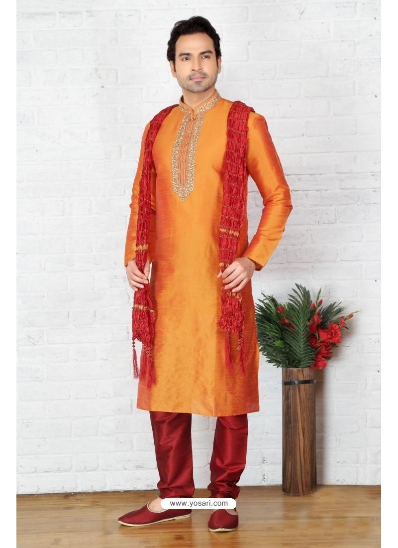 Flawless Orange Silk Kurta Pajama