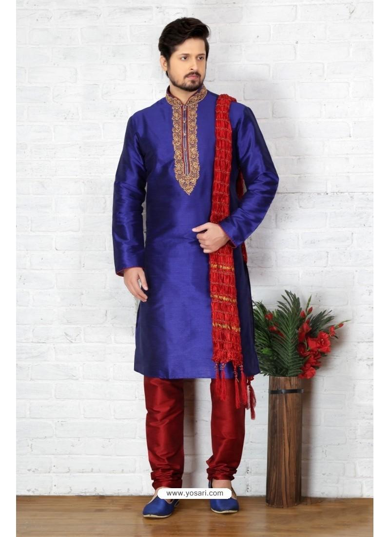 Marvelous Royal Blue Silk Kurta Pajama