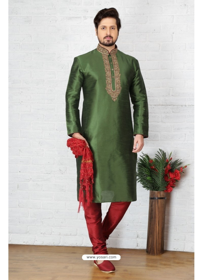 Gorgeous Mehendi Silk Kurta Pajama
