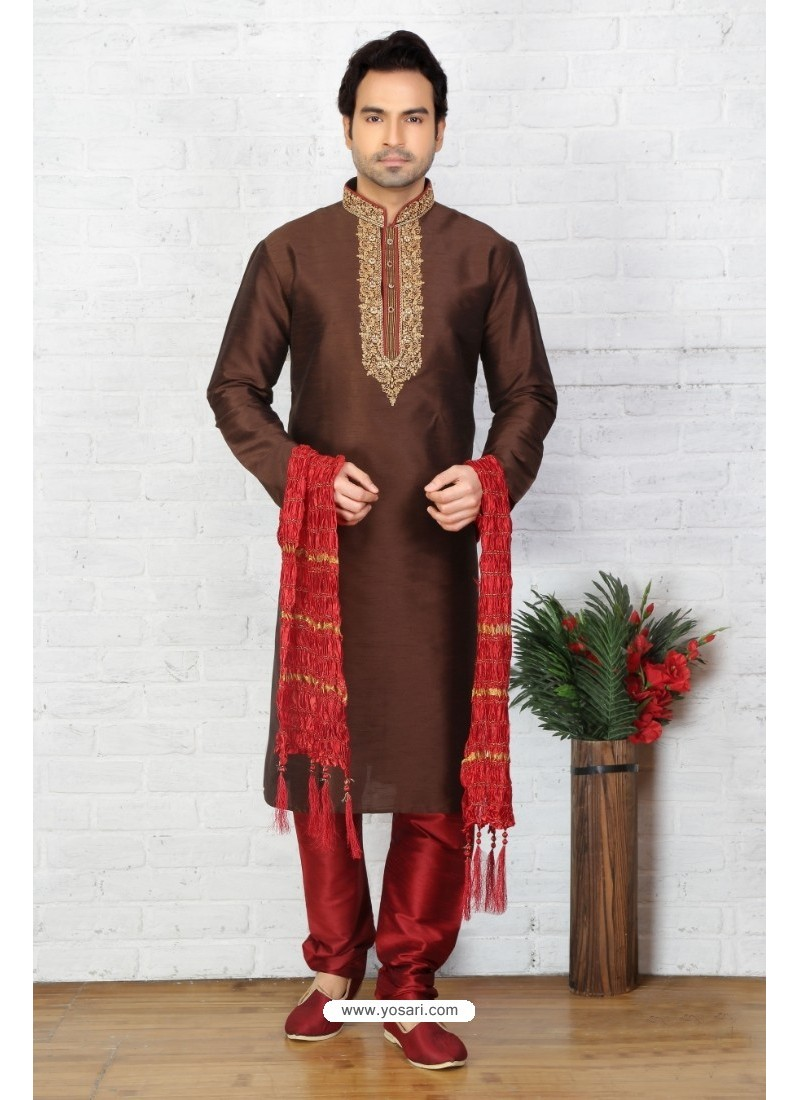 Incredible Coffee Silk Kurta Pajama