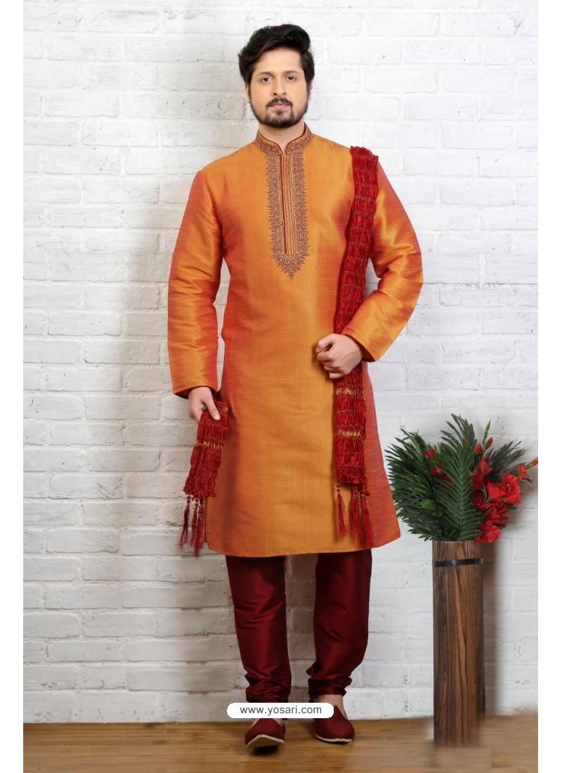 Mesmeric Orange Silk Kurta Pajama