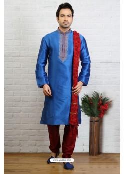 Enhanting Blue Silk Kurta Pajama