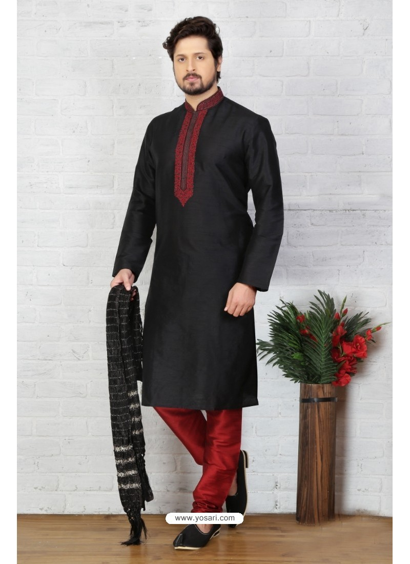Attractive Black Silk Kurta Pajama