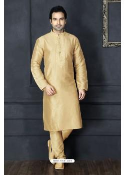 Stunning Golden Silk Kurta Pajama