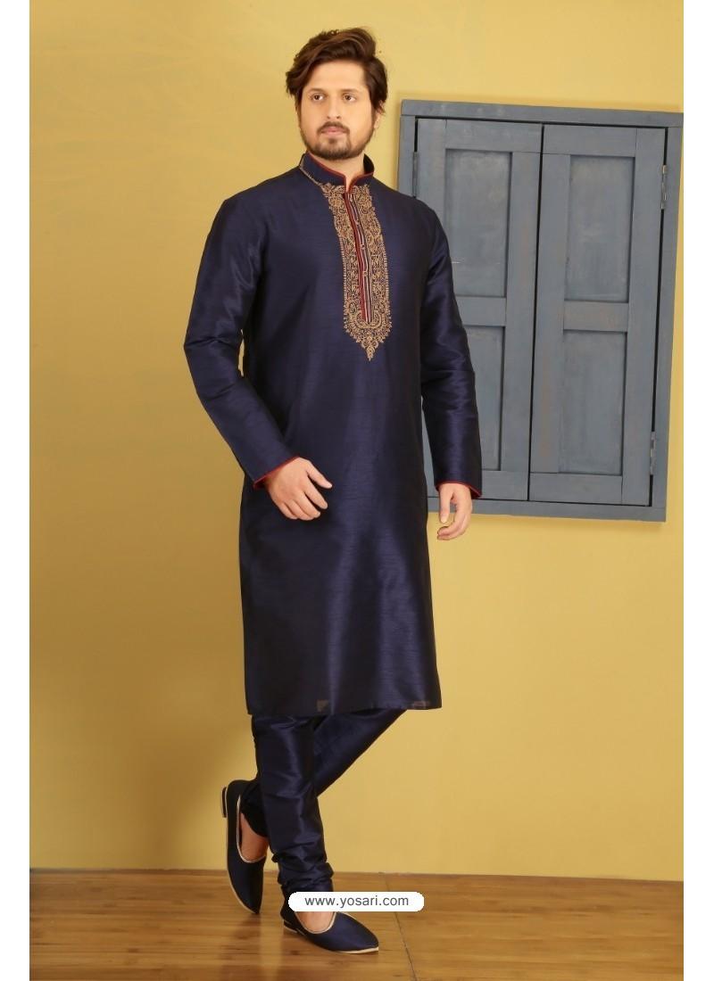 Fab Navy Blue Silk Kurta Pajama