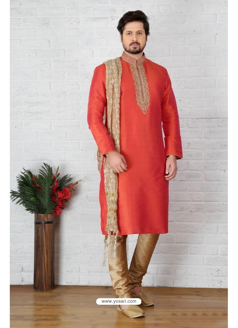 Dark Peach Art Banarasi Silk Kurta Pajama