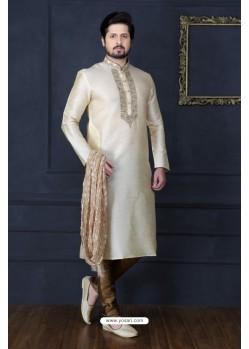 Off White Dupion Silk Kurta Pajama