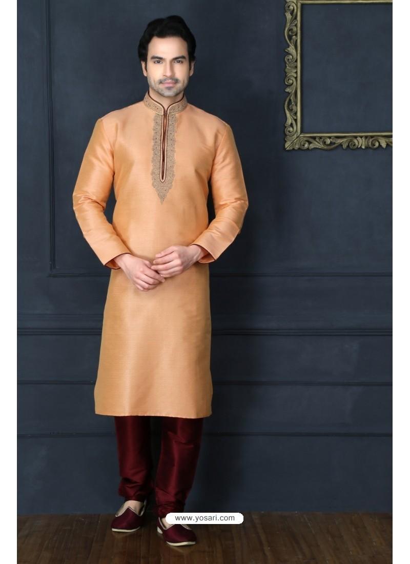Light Beige Art Banarasi Silk Kurta Pajama