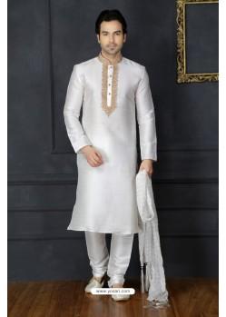 White Dupion Silk Kurta Pajama