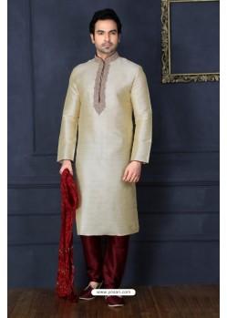Taupe Art Banarasi Silk Kurta Pajama
