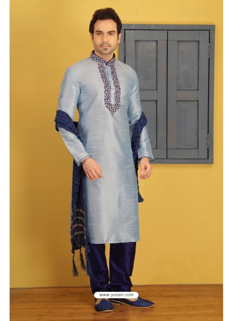 Silver Dupion Silk Kurta Pajama