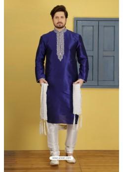 Dark Blue Dupion Silk Kurta Pajama