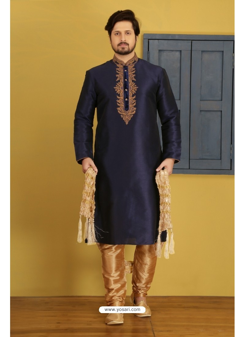 Navy Blue Art Banarasi Silk Kurta Pajama
