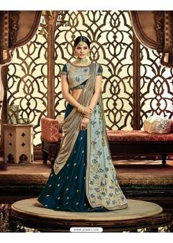 Peacock Blue Raw Silk Embroidered Saree