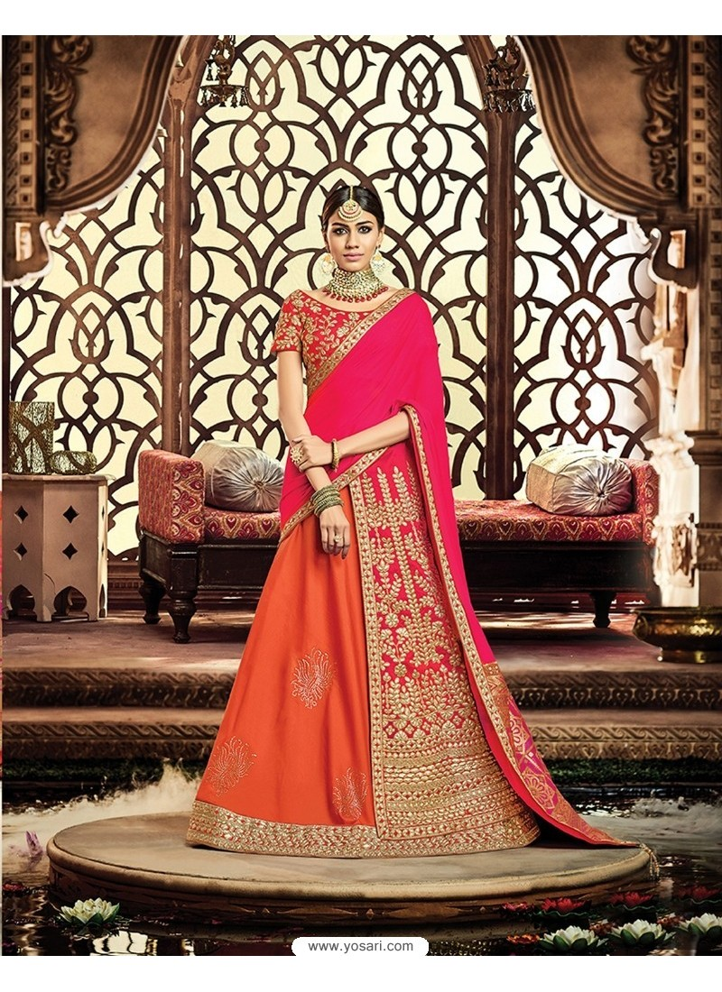 Orange Raw Silk Embroidered Saree