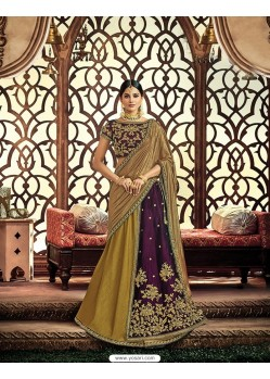 Mehendi Velvet Embroidered Saree