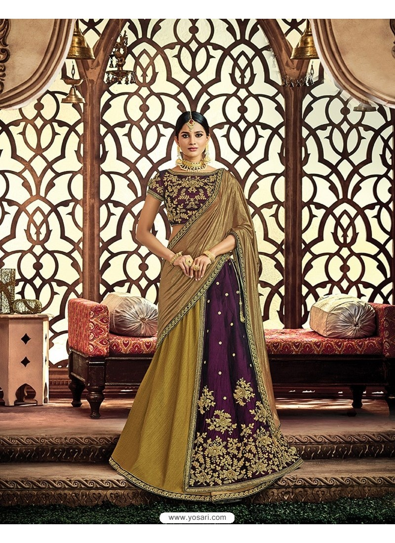Mehendi Velvet Embroidered Saree