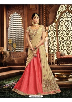 Peach Raw Silk Embroidered Saree