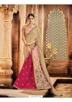 Baby Pink Raw Silk Embroidered Saree