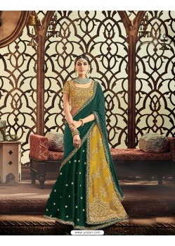 Dark Green Raw Silk Embroidered Saree